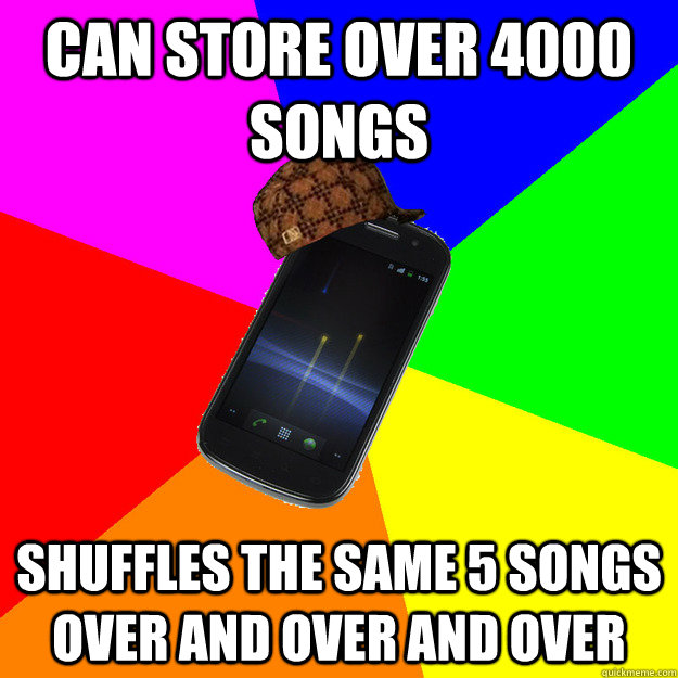 Can store over 4000 songs Shuffles the same 5 songs over and over and over