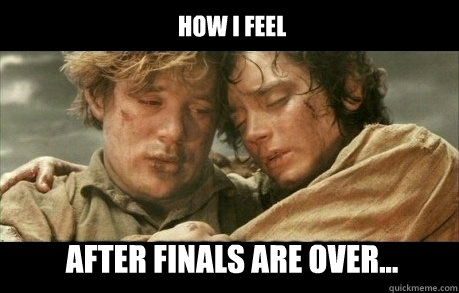 How I feel After finals are over... - Lord of the Rings ...