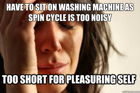Have to sit on washing machine as spin cycle is too noisy Too short for pleasuring self - Have to sit on washing machine as spin cycle is too noisy Too short for pleasuring self  FirstWorldProblems