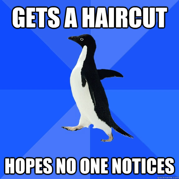 Gets a haircut hopes no one notices - Gets a haircut hopes no one notices  Socially Awkward Penguin