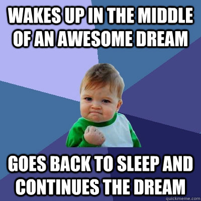 Wakes up in the middle of an awesome dream goes back to sleep and continues the dream - Wakes up in the middle of an awesome dream goes back to sleep and continues the dream  Success Kid