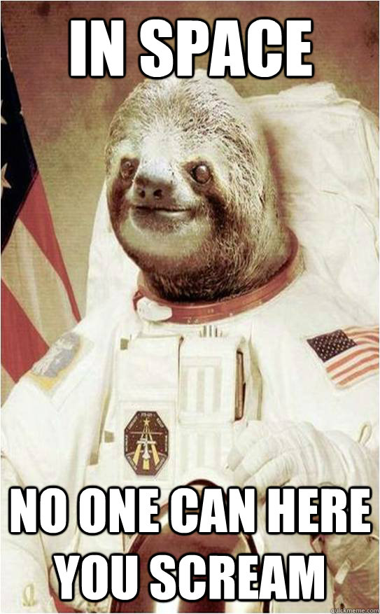 in space  no one can here you scream  Astronaut Rape Sloth