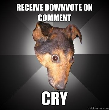 RECEIVE DOWNVOTE ON COMMENT CRY  Depression Dog