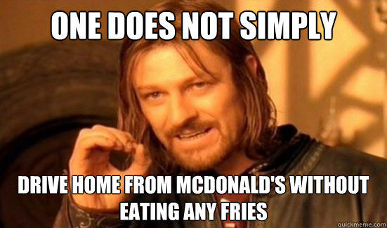 One Does Not Simply Drive home from Mcdonald's without eating any fries - One Does Not Simply Drive home from Mcdonald's without eating any fries  Boromir