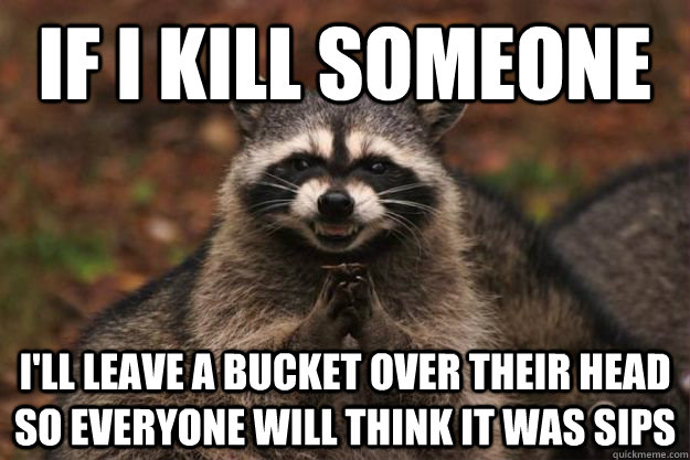 if I kill someone i'll leave a bucket over their head so everyone will think it was Sips - if I kill someone i'll leave a bucket over their head so everyone will think it was Sips  Evil Plotting Raccoon