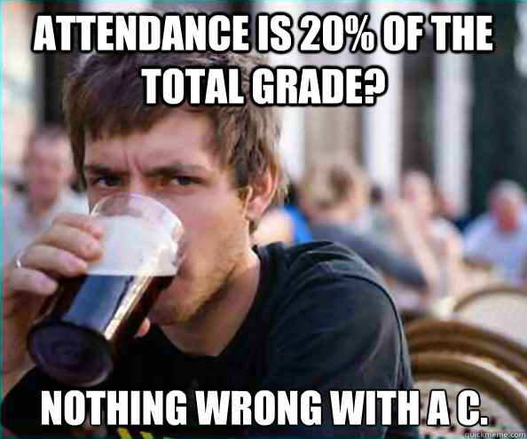 Attendance is 20% of the total grade? Nothing wrong with a C.  Lazy College Senior