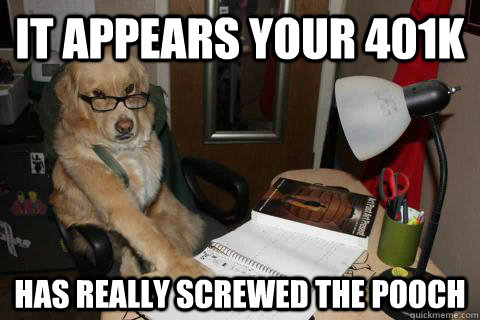 it appears your 401k has really screwed the pooch - it appears your 401k has really screwed the pooch  Financial Advice Dog