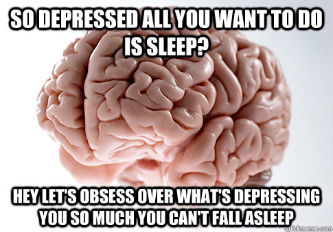 so depressed all you want to do is sleep? hey let's obsess over what's depressing you so much you can't fall asleep - so depressed all you want to do is sleep? hey let's obsess over what's depressing you so much you can't fall asleep  Scumbag Brain