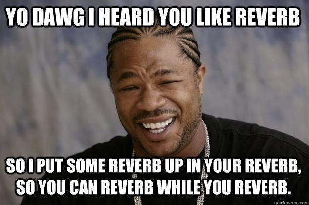 Yo dawg I heard you like reverb So I put some reverb up in your reverb, so you can reverb while you reverb. - Yo dawg I heard you like reverb So I put some reverb up in your reverb, so you can reverb while you reverb.  Xzibit meme