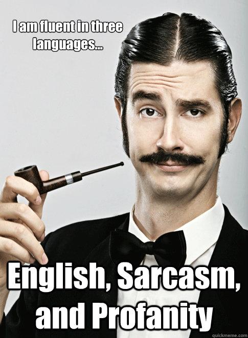 I am fluent in three languages... English, Sarcasm, and Profanity - I am fluent in three languages... English, Sarcasm, and Profanity  Le Snob