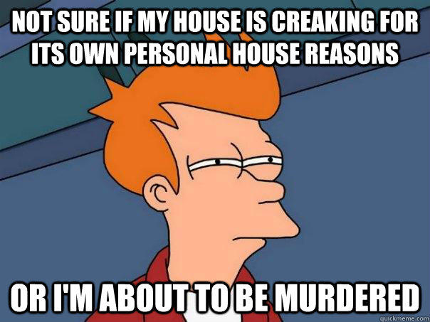 Not sure if my house is creaking for its own personal house reasons Or I'm about to be murdered  Futurama Fry