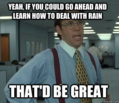 Yeah, if you could go ahead and learn how to deal with rain That'd be great - Yeah, if you could go ahead and learn how to deal with rain That'd be great  Bill Lumbergh