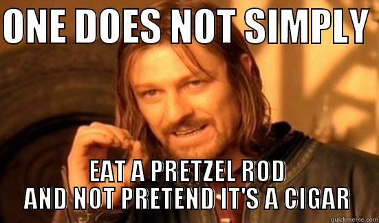 Pretzel Rods - ONE DOES NOT SIMPLY  EAT A PRETZEL ROD AND NOT PRETEND IT'S A CIGAR Boromir