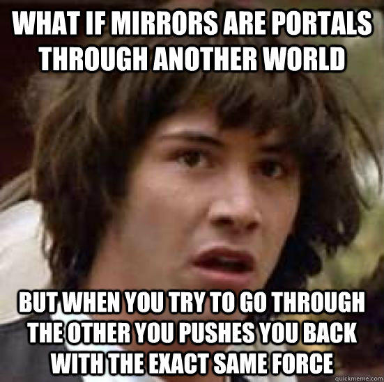 What if mirrors are portals through another world but when you try to go through the other you pushes you back with the exact same force