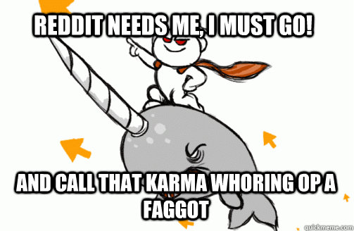 Reddit needs me, I must go! and call that karma whoring OP a faggot - Reddit needs me, I must go! and call that karma whoring OP a faggot  untitled meme