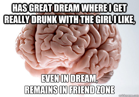 has great dream where i get really drunk with the girl i like, even in dream,  remains in friend zone - has great dream where i get really drunk with the girl i like, even in dream,  remains in friend zone  Misc