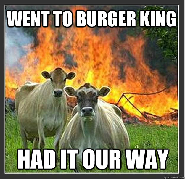 Went to Burger King Had it our way  Evil cows