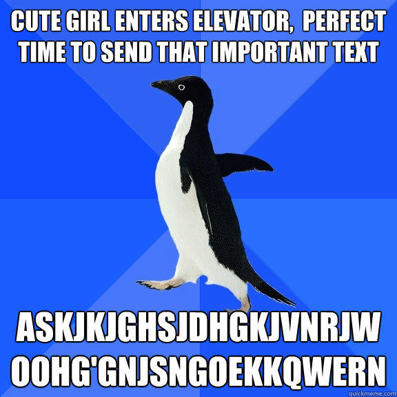 cute girl enters elevator,  perfect time to send that important text askjkjghsjdhgkjvnrjwoohg'gnjsngoekkqwern - cute girl enters elevator,  perfect time to send that important text askjkjghsjdhgkjvnrjwoohg'gnjsngoekkqwern  Socially Awkward Penguin