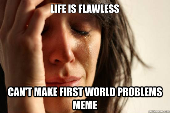 life is flawless can't make first world problems meme - life is flawless can't make first world problems meme  First World Problems