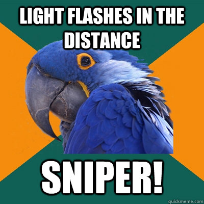 Light flashes in the distance Sniper! - Light flashes in the distance Sniper!  Paranoid Parrot