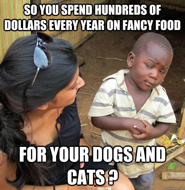 so you spend hundreds of dollars every year on fancy food  for your dogs and cats ? - so you spend hundreds of dollars every year on fancy food  for your dogs and cats ?  Skeptical Third World Child