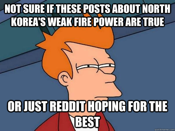 Not sure if these posts about North Korea's weak fire power are true or just reddit hoping for the best - Not sure if these posts about North Korea's weak fire power are true or just reddit hoping for the best  Not sure Fry