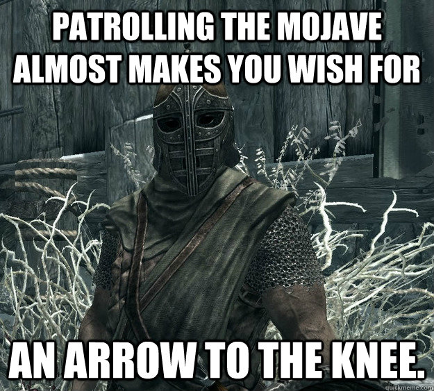 Patrolling the Mojave almost makes you wish for an arrow to the knee.  Skyrim Guard