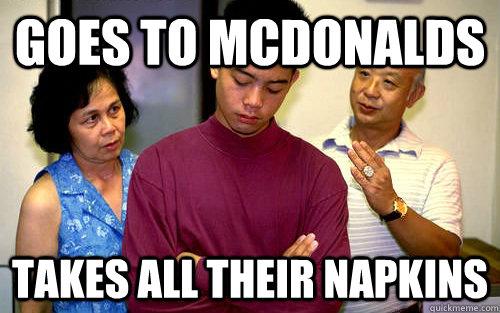 goes to mcdonalds takes all their napkins