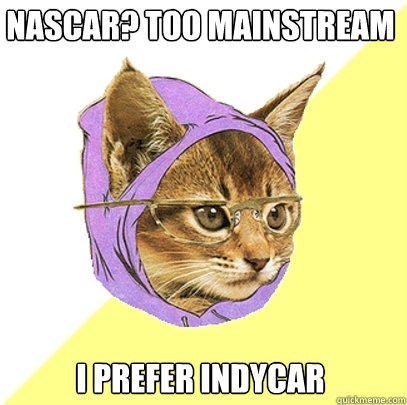 nascar? too mainstream i prefer indycar - nascar? too mainstream i prefer indycar  Hipster Kitty