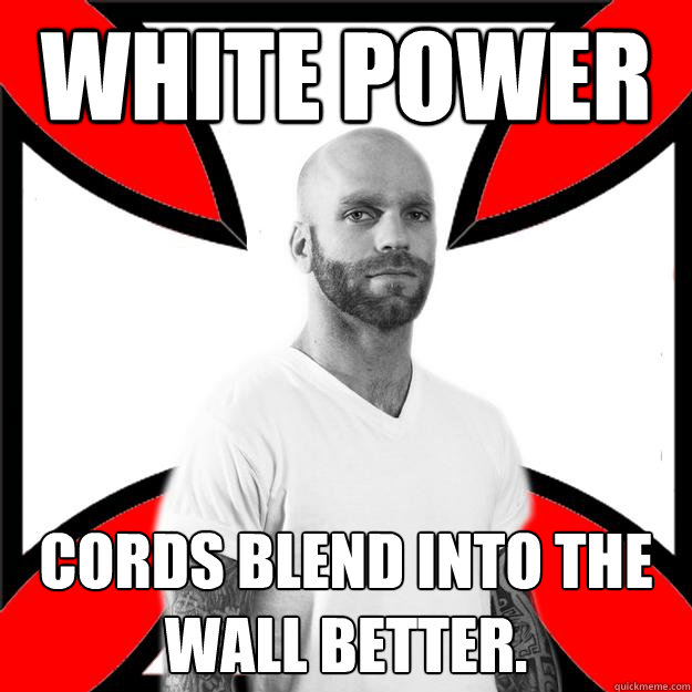 White power cords blend into the wall better.