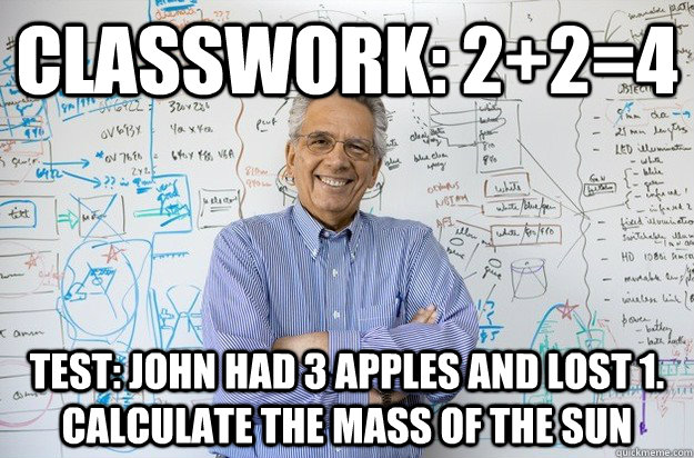 classwork: 2+2=4 test: John had 3 apples and lost 1. calculate the mass of the sun  Engineering Professor