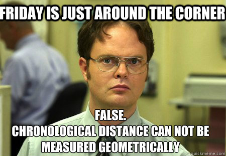 Friday is just around the corner False. Chronological distance can not be measured geometrically - Friday is just around the corner False. Chronological distance can not be measured geometrically  Schrute