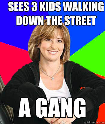 Sees 3 kids walking down the street a Gang - Sees 3 kids walking down the street a Gang  Sheltering Suburban Mom