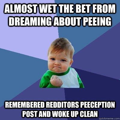 almost wet the bet from dreaming about peeing remembered redditors peeception post and woke up clean - almost wet the bet from dreaming about peeing remembered redditors peeception post and woke up clean  Success Kid