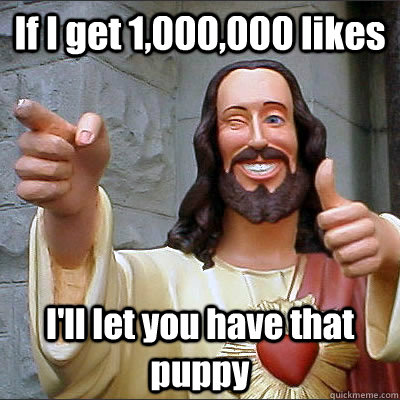 If I get 1,000,000 likes I'll let you have that puppy