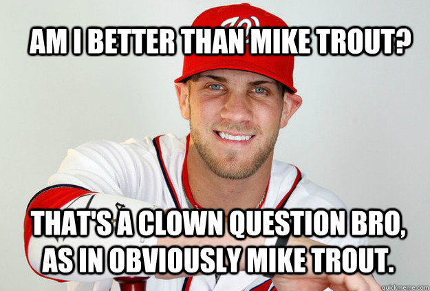 2cc9811bc7c844dcea209c28a3c4bdc7ea067160d40dbab725495c41647a8af1 am i better than mike trout? that's a clown question bro, as in