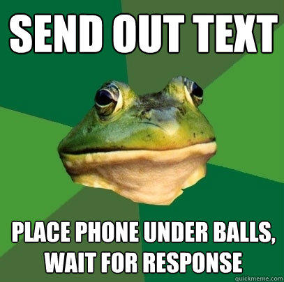send out text place phone under balls, wait for response - send out text place phone under balls, wait for response  Foul Bachelor Frog