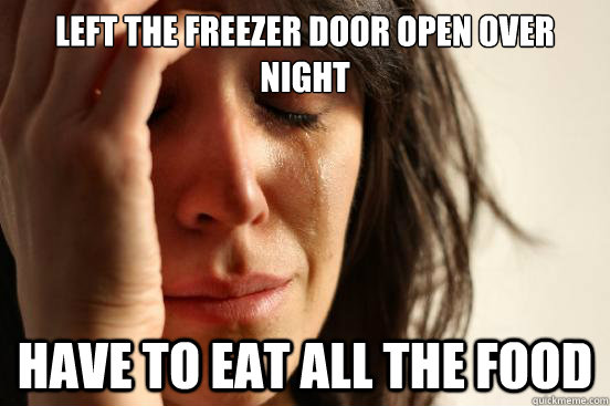 LEFT THE FREEZER DOOR OPEN OVER NIGHT HAVE TO EAT ALL THE FOOD - LEFT THE FREEZER DOOR OPEN OVER NIGHT HAVE TO EAT ALL THE FOOD  First World Problems