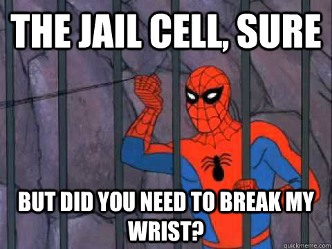 The jail cell, sure but did you need to break my wrist?