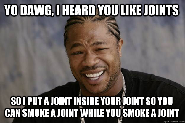 yo dawg, i heard you like joints so i put a joint inside your joint so you can smoke a joint while you smoke a joint - yo dawg, i heard you like joints so i put a joint inside your joint so you can smoke a joint while you smoke a joint  Xzibit meme
