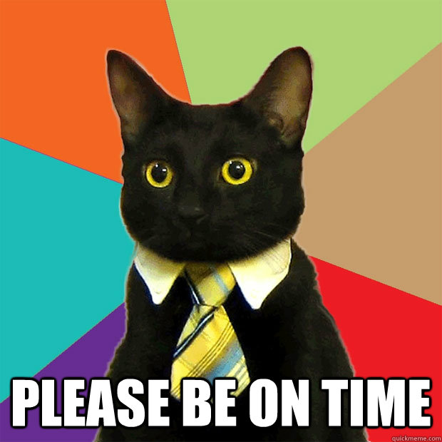 Please Be On Time -  Please Be On Time  Business Cat