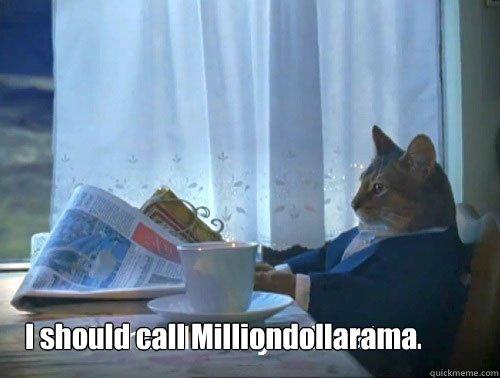 I should call Milliondollarama. - I should call Milliondollarama.  Fancy Cat