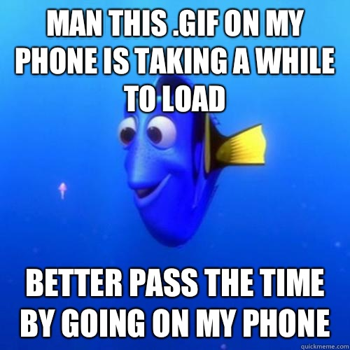 Man this .gif on my phone is taking a while to load Better pass the time by going on my phone - Man this .gif on my phone is taking a while to load Better pass the time by going on my phone  dory