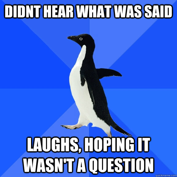 didnt hear what was said laughs, hoping it wasn't a question - didnt hear what was said laughs, hoping it wasn't a question  Socially Awkward Penguin
