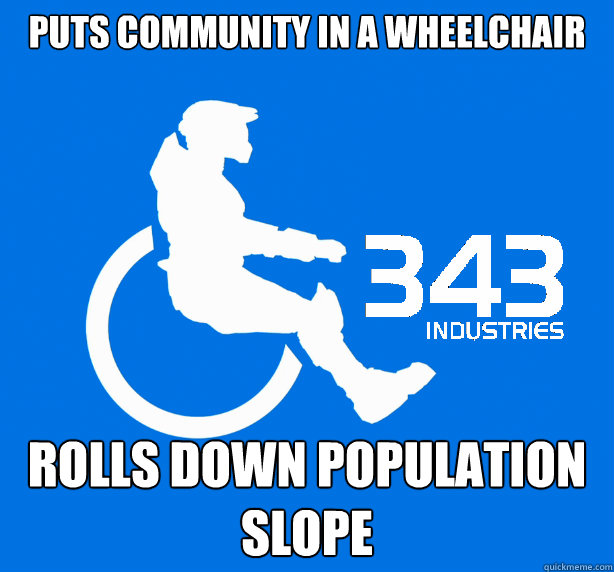 Puts Community in a Wheelchair Rolls down Population Slope