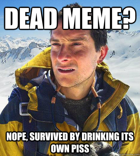 dead meme? Nope, survived by drinking its own piss - dead meme? Nope, survived by drinking its own piss  Bear Grylls