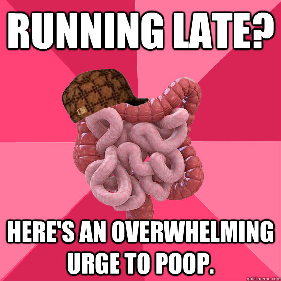 Running Late? Here's an overwhelming urge to poop.  - Running Late? Here's an overwhelming urge to poop.   Scumbag Intestines