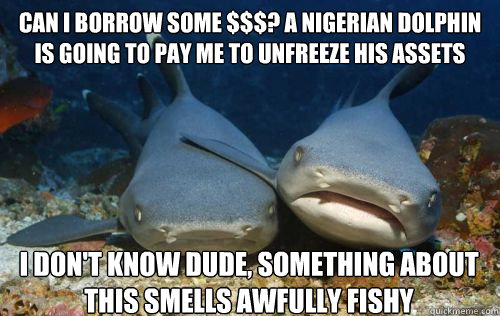 Can i borrow some $$$? A nigerian dolphin is going to pay me to unfreeze his assets I don't know dude, something about this smells awfully fishy - Can i borrow some $$$? A nigerian dolphin is going to pay me to unfreeze his assets I don't know dude, something about this smells awfully fishy  Compassionate Shark Friend