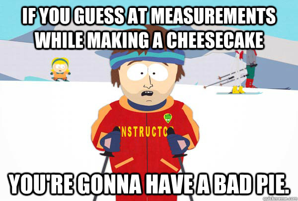 if you guess at measurements while making a cheesecake you're gonna have a bad pie. - if you guess at measurements while making a cheesecake you're gonna have a bad pie.  Super Cool Ski Instructor