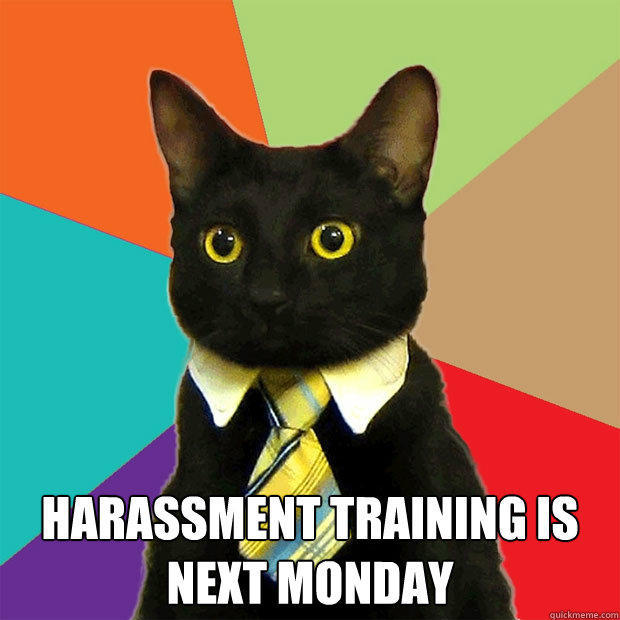 harassment training is next monday  -  harassment training is next monday   Business Cat